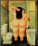 Bath Mounted Print by Fernando Botero