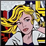 M-måske, på engelsk, ca.1965 Monteret tryk af Roy Lichtenstein