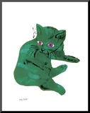 "Cat From ""25 Cats Named Sam and One Blue Pussy"" , c. 1954 (Green Cat) Mounted Print by Andy Warhol"