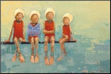 Swimteam no. 9 Mounted Print by Rebecca Kinkead
