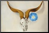 Ram's Head, Blue Morning Glory Mounted Print by Georgia O'Keeffe