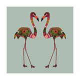 Flamingos Seafoam Poster af Sharon Turner