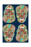 Flower Skulls Blue Posters by Sharon Turner