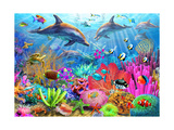 Dolphin Coral Reef Plakater af Adrian Chesterman
