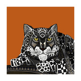 Snow Leopard Orange Prints by Sharon Turner