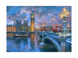 Westminster at Christmas Print by Dominic Davison