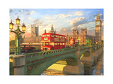 Westminster Bridge Buses Print by Dominic Davison