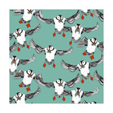 Atlantic Puffins Mint Poster par Sharon Turner
