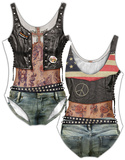 Womans: Leather Tattoo Costume One-Piece (Front/Back) Jumpsuit til voksne