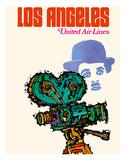 Los Angeles - United Airlines - Charlie Chaplin with Movie Camera Impression giclée par  Jebary