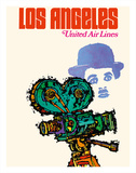 Los Angeles - United Airlines - Charlie Chaplin with Movie Camera Giclée-tryk af Jebary