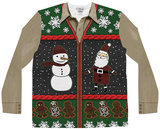 Long Sleeve: Xmas Zip Sweater Vest Ugly Sweater (Front/Back) T-shirty