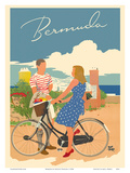 Bermuda - Woman on Bicycle Prints by Adolph Treidler
