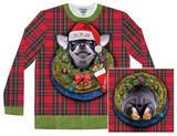 Long Sleeve: Xmas Big Dog Ugly Sweater (Front/Back) T-shirty
