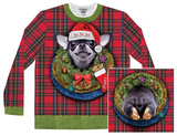 Long Sleeve: Xmas Big Dog Ugly Sweater (Front/Back) - T-shirts