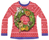 Juniors Long Sleeve: Cat Wreath Ugly Sweater (Front/Back) T-shirts