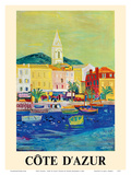 Côte d'Azur (French Riviera) - Port of Saint Tropez - SNCF (French National Railway Company) Posters by Roger Bezombes