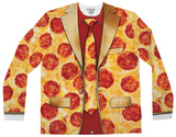 Long Sleeve: Pizza Suit Costume Tee (Front/Back) T-skjorter