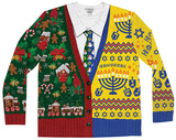 Long Sleeve: Xmas - Hanukkah Half and Half Ugly Sweater (Front/Back) - T-shirt