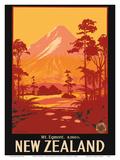 Mount Egmont (Mount Taranaki), New Zealand Plakater af Leonard Mitchell