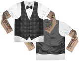 Long Sleeve: Hipster Vest Tattoo Costume Tee (Front/Back) T-shirts manches longues