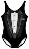 Womans: Black Tuxedo Costume One-Piece (Front/Back) Kombinéza pro dospělé
