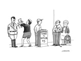 A line of people waiting to pay $5 to compare things to Hitler. - New Yorker Cartoon Premium Giclee Print by Joe Dator