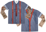 Long Sleeve: Hipster Suspenders Tattoo Costume Tee (Front/Back) Skjorter