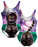 Womans: Galactic Cat Costume One-Piece (Front/Back) Adult Onesie