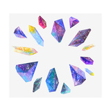 Watercolor Crystals with Star Sky Posters af librebird