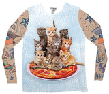 Long Sleeve: Cat Pizza Tank with Tattoo Sleeves Costume Tee (Front/Back) Long Sleeves