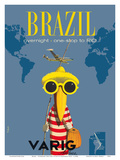 Brazil - Overnight One Stop to Rio De Janeiro - Varig Airlines - Lockheed Super G Constellation Kunstdrucke von Francesco Petit