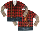 Youth Long Sleeve: Tattooed Lumberjack Costume Tee (Front/Back) T-shirts
