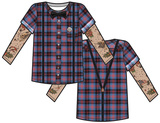 Youth Long Sleeve: Tattooed Plaid Hipster with Band Button Costume Tee (Front/Back) T-Shirts
