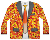 Long Sleeve: Candy Corn Suit Costume Tee (Front/Back) Skjorter