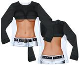 Long Sleeve: Ladies Half Shirt Costume Tee (Front/Back) Vêtements