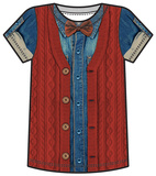 Youth: Hipster Denim & Cardigan Costume Tee  (Front/Back) T-shirts