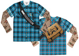 Youth Long Sleeve: Tattooed Plaid Hipster with Messenger Bag Costume Tee (Front/Back) T-shirts