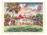 Midsummer at Mount Vernon - President George Washington's Home - United Air Lines Calendar Page Prints by Joseph Fehér