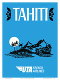 Tahiti - UTA (Union des Transports Aériens) - French Airlines Poster by  Pacifica Island Art