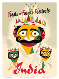 Feasts of Fairs & Festivals India - Indian Crowned Masks Posters by  Pacifica Island Art