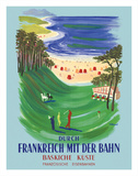 Durch Frankreich mit der Bahn (Discover France by Train) - The Basque Coast - French Railways Lámina giclée por Bernard Villemot