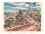 Colorful Taxco, Mexico - United Air Lines Calendar Page Posters by Joseph Fehér