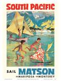 Tahiti, South Pacific - Sail Matson - Steamships SS Mariposa, SS Monterey Poster by Louis Macouillard