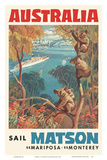 Australia - Sail Matson - SS Mariposa, SS Monterey - Matson Navigation Company Prints by Louis Macouillard