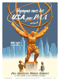 Travel to the USA by PAA - New York par Clipper - Pan American World Airways Poster by  Pacifica Island Art