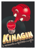 Kinagin - Le Vermouth au Quina et au Gin (Vermouth and Gin with Quinine) - French Liquor Art by E. P.