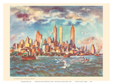 Manhattan from Governor's Island - New York - United Airlines Calendar Page Prints by Joseph Fehér