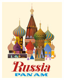 Russia - Pan American World Airways - Saint Basil's Cathedral, Moscow - Onion Domes Giclée-tryk af Pacifica Island Art