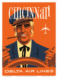 Cincinnati, Ohio - Delta Air Lines - Riverboat Captain Prints